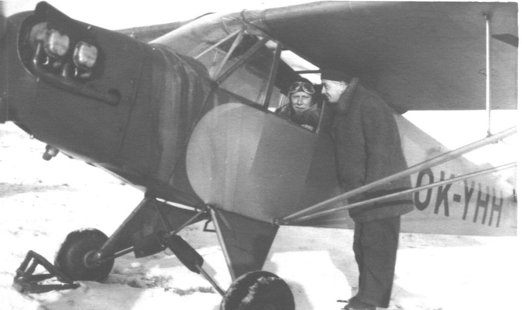 Létání zima 1948-pilot Karel Bína, Josef Hác